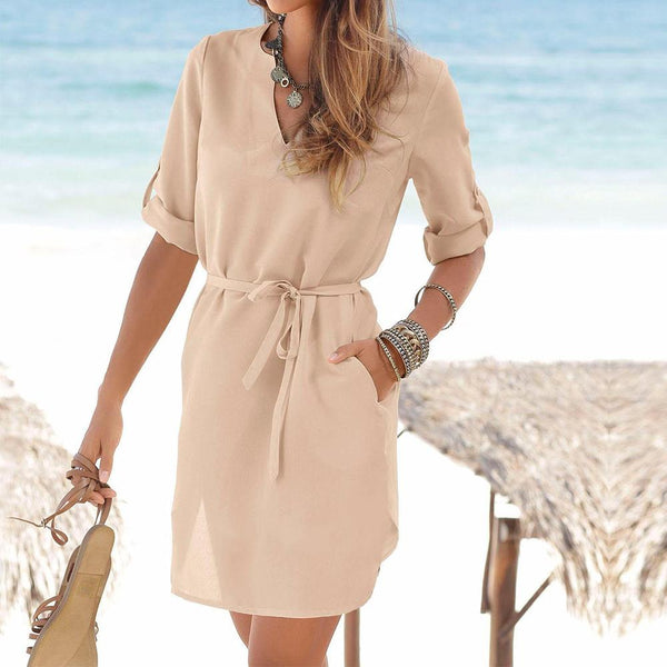 Solid Color V-neck Loose Chiffon Blouse Dress