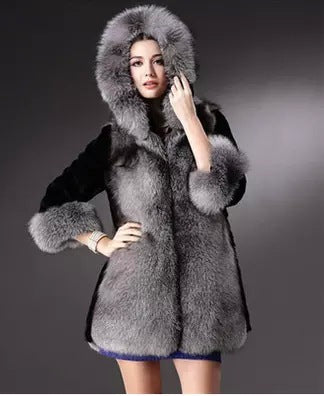 Faux Fur Hooded Thick Large Collar Coat