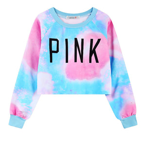 Print Long Sleeve Round Collar Sweatshirt