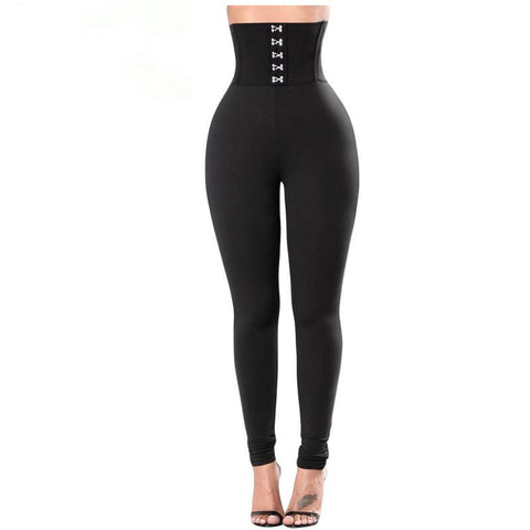 High Waist Slim Fitness Pencil Pants Corset Belt Leggings