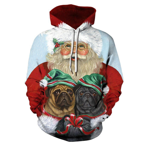 Christmas Funny Print Hoodie Casual Ugly Sweatshirt Jacket Coat Outerwear For Men Women