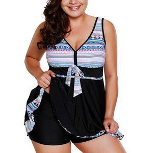 Floral Printed Criss Cross Back Women Plus Size Two Piece Swim Dress Swimwear Swimsuit Tankini Set Bathing Suit