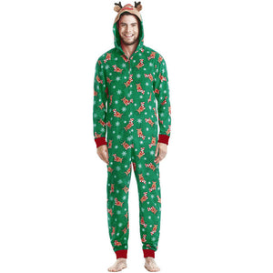 Funny Reindeer Printed Ugly Christmas Hooded Pajamas Jumpsuits Onesies Sleepwear with Ears