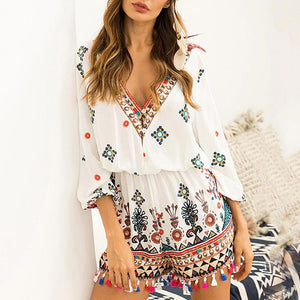 Fashion Women's V-Neck Summer Floral Playsuit Romper