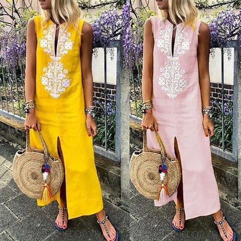 Women V-neck Loose Slit Sleeveless Embroidered Dress