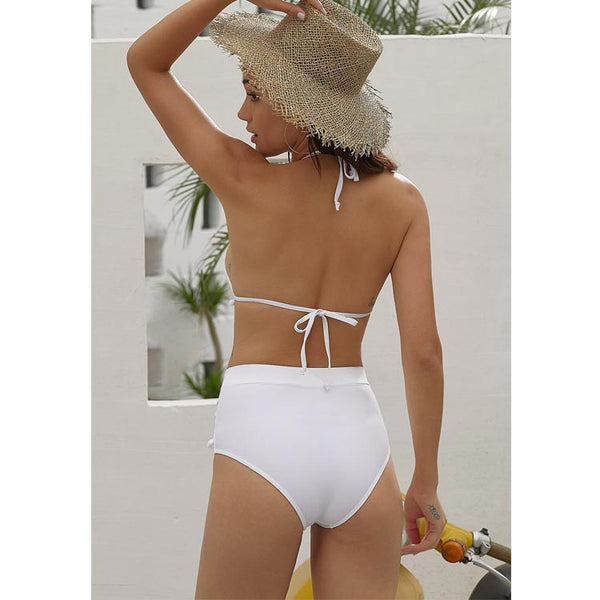High Waist Two Pieces Bikini Set Stripe Tassel Pompom Trim Swimsuit
