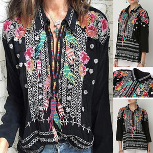 Handmade Embroidered Plus Size Long Sleeve Floral Loose Blouse
