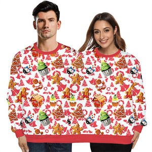 Unisex Conjoined Twin Couples Print Xmas Double Sweatshirt Two Person Double Headed Ugly Christmas Pullover Sweater