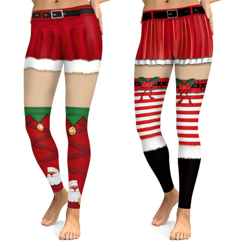 Funny Christmas Print Tight-fitting Sports Yoga Active Pants Leggings Pajama Pants