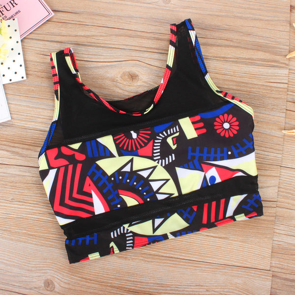 Round Neck Printed Polyester Two-piece Swimwear