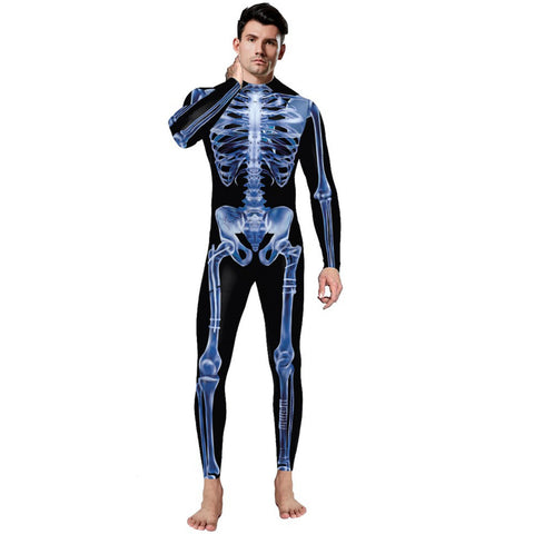 3D Human Skeleton Funny Print Bodycon Stretch Men Suit Jumpsuits Leggings Pajamas Onesie Playsuit