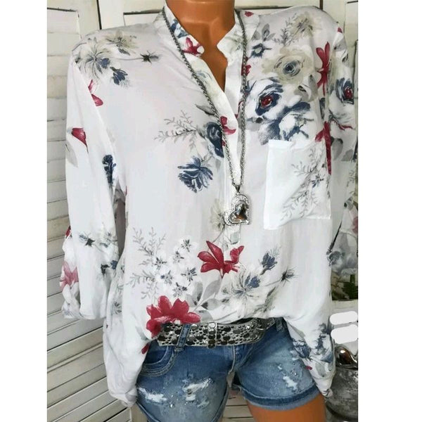 V-Neck Button Floral Printed Blouses