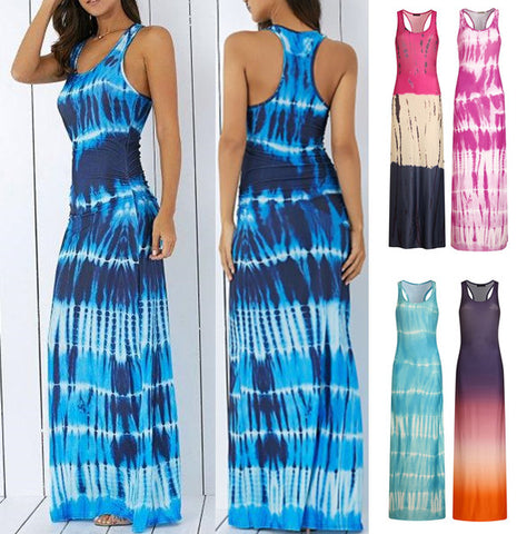 S-5XL Plus Size Round Neck Silk Sleeveless Long Dress