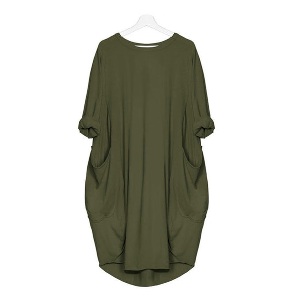 Fashion Pocket Design Loose Casual Dress