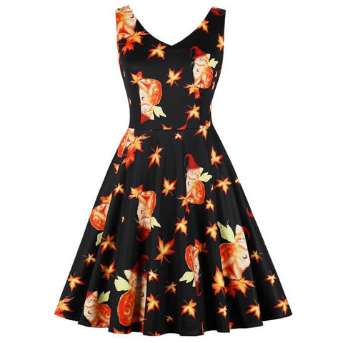 Halloween Maple Magic Cat Print Women's Dress(S-4XL)