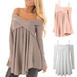 Women Fashion Cold Shoulder Long Sleeve Pure Color Knitted Casual Sweater