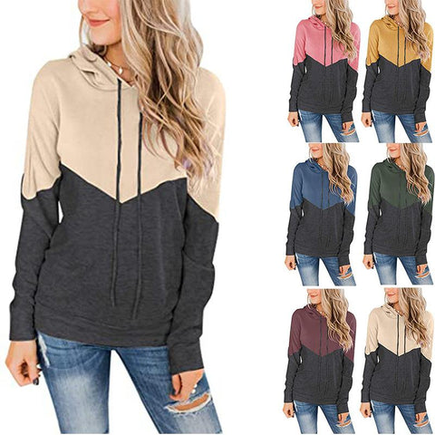 Hooded Drawstring Stitching Contrast Long-sleeved Hoodie Sweatshirt