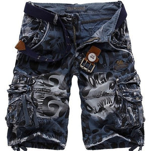 Multi-pocket Loose Leopard Camouflage Camo Cargo Shorts