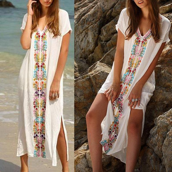 White Embroidery V Neck Split Side Maxi Dress