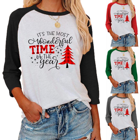 Women Christmas Tree Letter Printed Round Neck 3/4 Sleeve T-shirt Blouse Tops