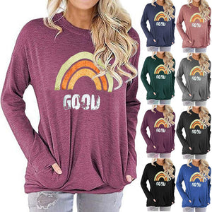 Women Rainbow Print Long Sleeve Round Neck Pocket Casual Shirt Tops