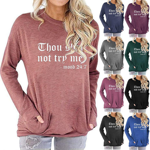 Women Letter Print Long Sleeve Round Neck Pocket Casual Shirt Tops