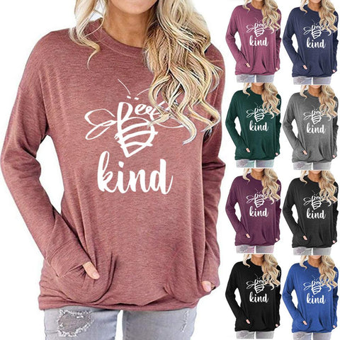 Women Bee KIND Letter Print Long Sleeve Round Neck Pocket Casual Shirt Tops