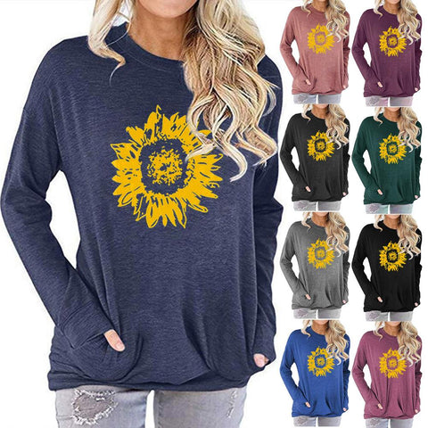 Women Sunflower Print Long Sleeve Round Neck Pocket Casual Shirt Tops