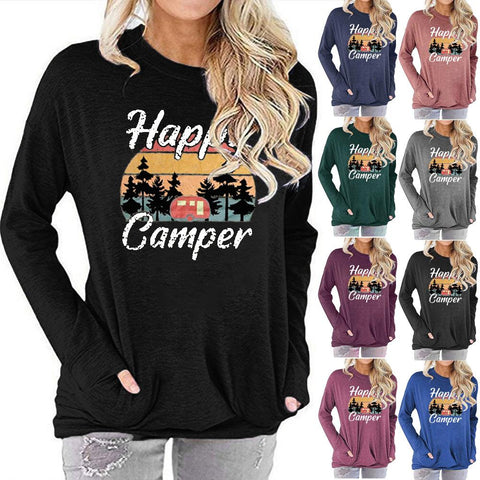 Women Happy Camper Letter Print Long Sleeve Round Neck Pocket Casual Shirt Tops