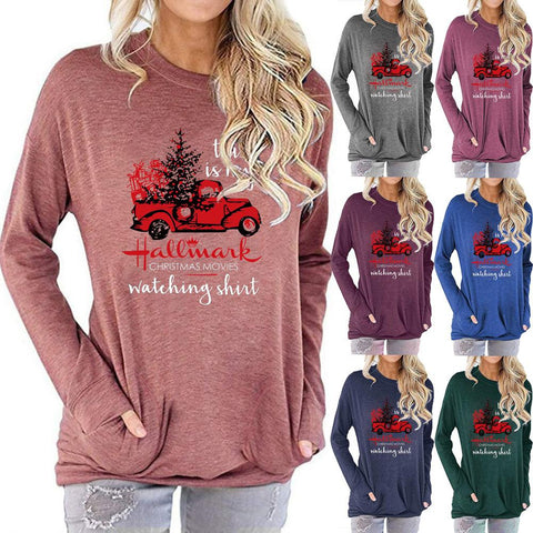 Women Christmas Car Tree Print Long Sleeve Round Neck Pocket Casual Shirt Tops