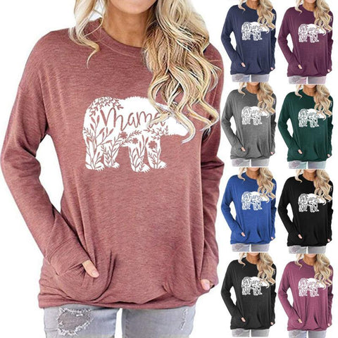 Women Mama Bear Letter Print Long Sleeve Round Neck Pocket Casual Shirt Tops