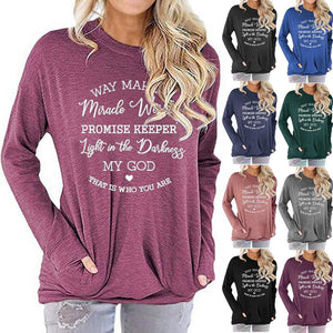 Women Fun Letter Print Long Sleeve Round Neck Pocket Casual Shirt Tops