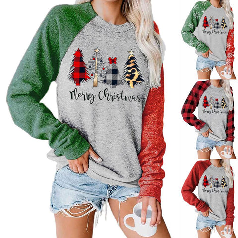 Women Christmas Tree Snowflake Plaid Printed Patchwork Long Sleeve Casual Pullover Sweatshirt