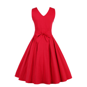 Sexy Deep V-Neck Solid Color Vintage Dress