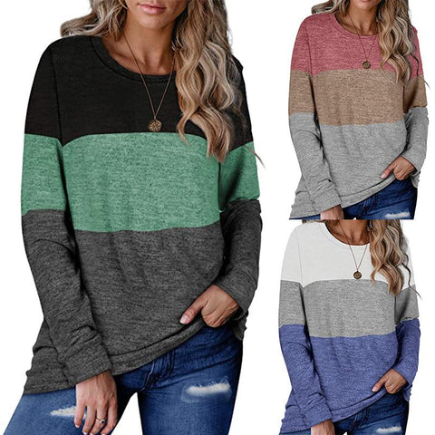 Women Casual Long Sleeve Color Block Round Neck Fashion Blouse Tunic Tops