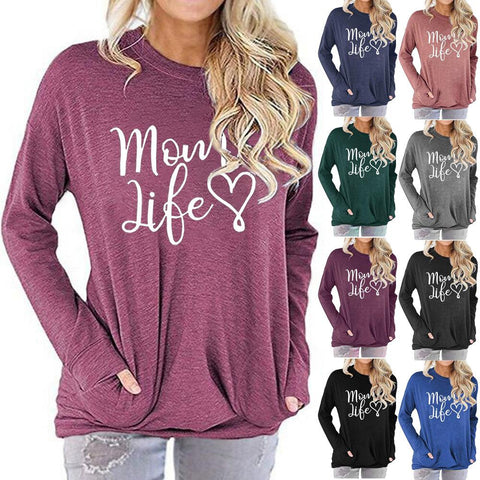 Women Mom Life Letter Print Long Sleeve Round Neck Pocket Casual Shirt Tops