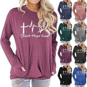 Women Faith Hope Love Letter Print Long Sleeve Round Neck Pocket Casual Shirt Tops