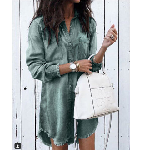 Fashion Women Long Sleeve Loose Denim Shirts Dress