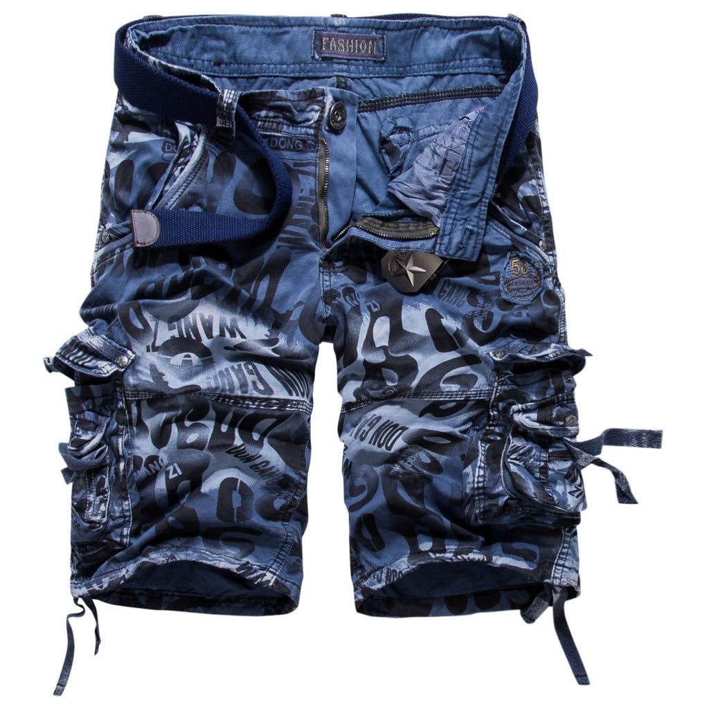Multi-pocket Loose Five-pants Camouflage Pants Men Camo Shorts Pants