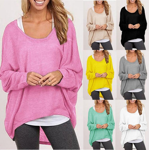 eddf9ce626a Women s Sexy Long Batwing Sleeve Loose Pullover Casual Top (Plus Size )