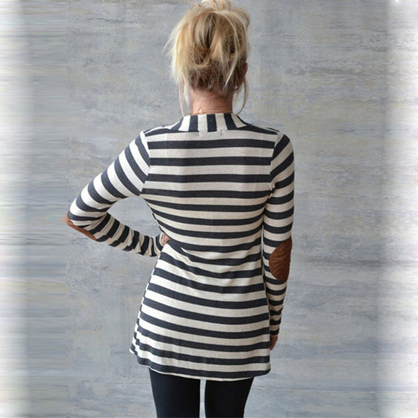 Slim Long Sleeve Striped Arm Patch Cardigan