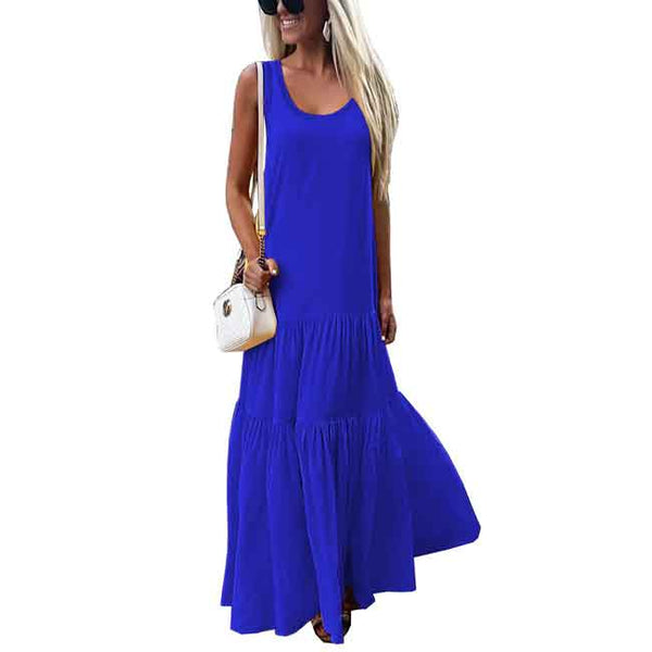 Solid Color Round Neck Sleeveless Stitching Dress