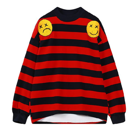 Striped Print Loose Embroidered Long Sleeve Sweatshirt