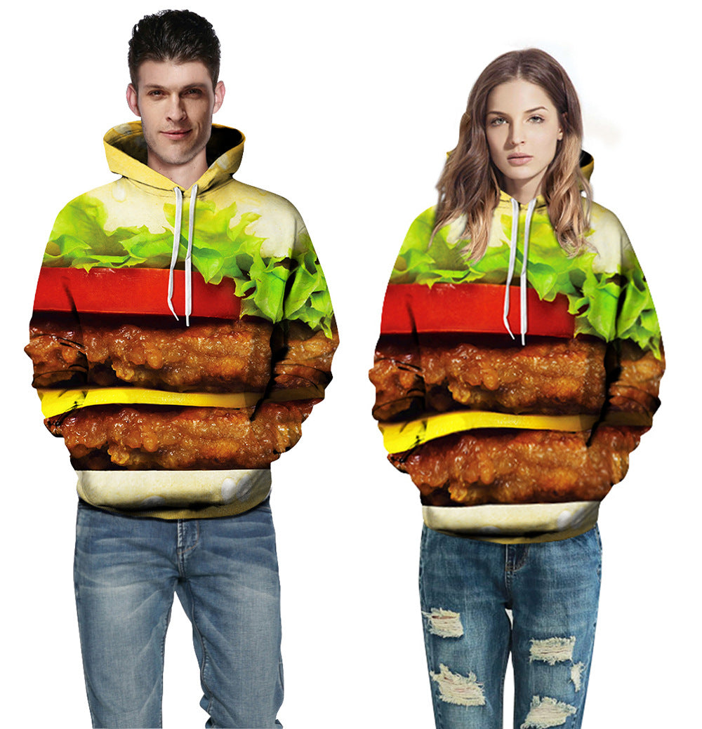 Fashion Print Hamburger Sweater Loose Hoodie