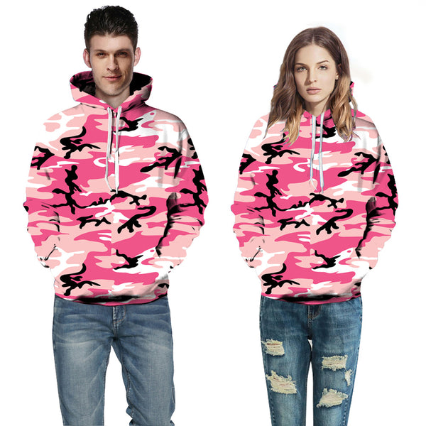 Fashion 3D Printed Pink Camouflage Camo Hoodie
