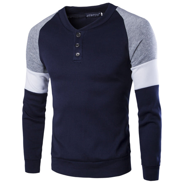Mens Plain Long Sleeve Cotton Sweater Pullover Jumper Tops