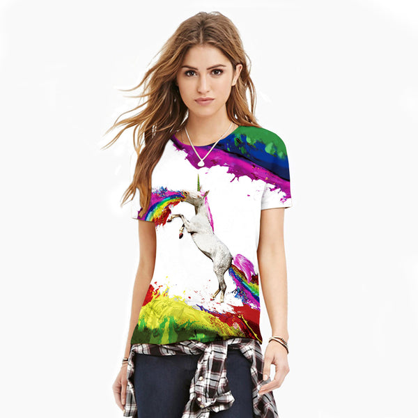 3D Pegasus Printed Casual Short Sleeve T-shirt