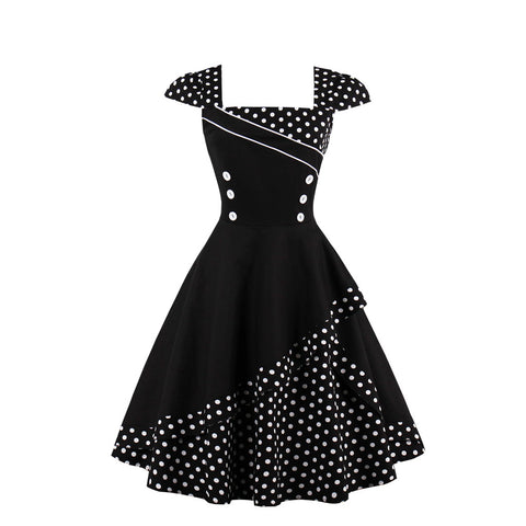 Square Collar Button Polka Dot Vintage Dress (S-4XL)