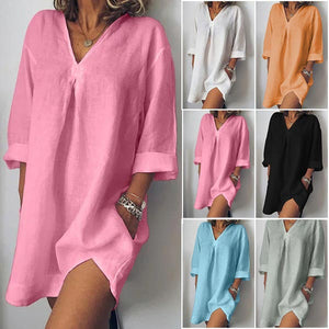 Women Long sleeve Loose  Solid Color Summer Dresses