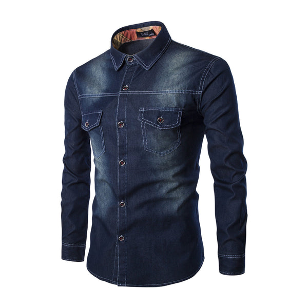 M-6XL Denim Shirt Double Pocket Slim Long Sleeve Shirt